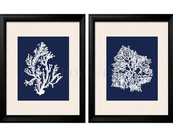 Blue Coral Wall Art, Navy Blue Coral Print, Navy White Wall Art, Navy Blue Home Decor, Coral Print, Set of Two Prints, Custom Colors