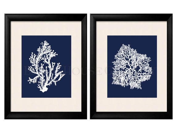 Awesome Blue Coral Wall Art Navy Blue Coral Print Navy White Wall