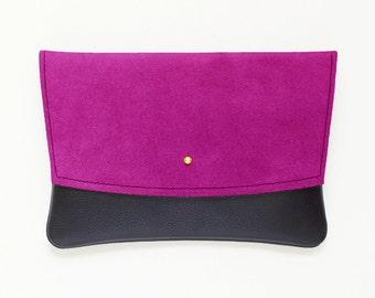 Fuchsia Envelope Clutch, Suede Leather Minimal Clutch, Pink Leather Clutch, Wedding Clutch, Bridesmaid Gift, Bridal Clutch, Formal Clutch