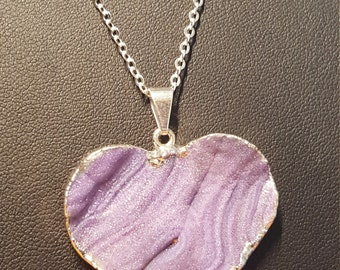Purple Drusy heart pendant with silver 18 inch chain.