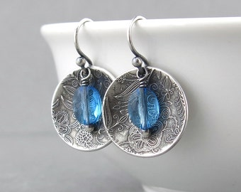 Light Blue Earrings Blue Crystal Earrings Aquamarine Earrings Birthday Gift for Her Sterling Silver Jewelry Crystal Jewelry - Contrast