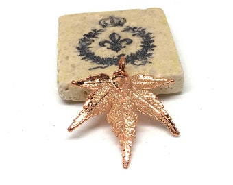 Copper Electroplated Japanese Maple Leaf. Copper Connectors. Jewelry Findings. Pendant. 50mm x 45mm. One (1).