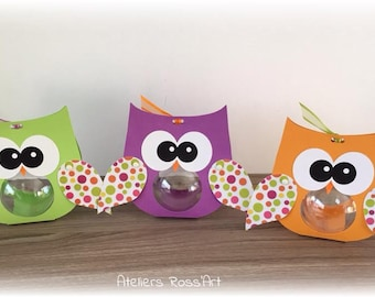 6 boxes with dragees bapeme original OWL wings pattern polka dots - bapeme twin and triple ball