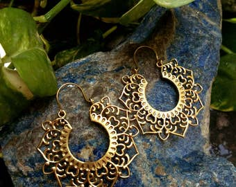 Big brass Hoop Earrings. Boho Earrings. Gypsy Hoop Earrings. Ethnic Earrings. Tribal design. Handmade Jewelry. Festival Jewelry
