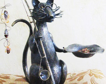 Hand Forged Blacksmithing Metalwork Fisher Cat Sculpture Cat Forged Sculpture Garden