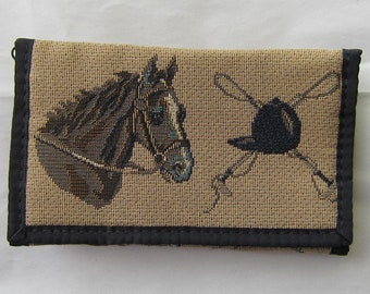 Tapestry Fabric HORSE HEADS Equestrian Horse Ladies Wallet/Checkbook made in USA....choose color