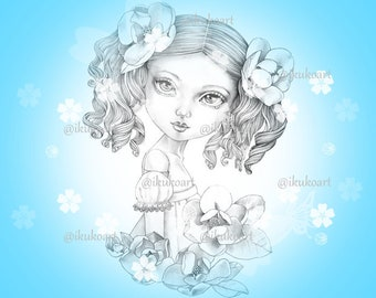 Camellia Girl - Grayscale Art Digital Stamp Image Adult Coloring Page Printable Instant Download