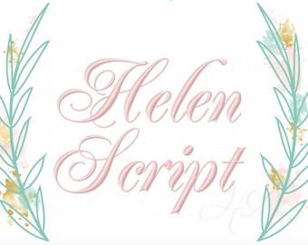 "Embroidery Font Helen Virginia .5"" inch Half Formal Cursive Script Monogram Monogram BX Instant download 4x4 5x7 BX instant download PES"