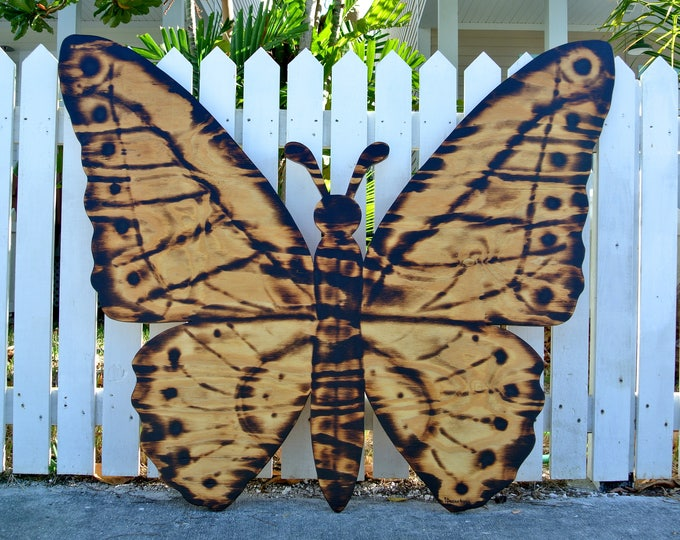 Wooden Butterfly Gift for Her, Large Wood Burning Butterfly Sign, Wall Decor.