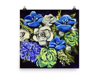 Blue, White, and Green Flowers - Giclee Print made from original acrylic painting