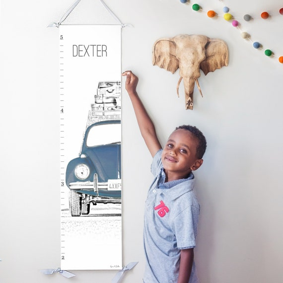 Personalized VW Beetle/Bug canvas growth chart in navy blue