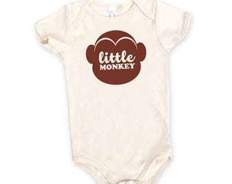 Little Monkey One-Piece Onesie Romper - Family Photos, Infant, Expecting, New Baby, Baby Shower, Pregnant, Baby Mammal, Newborn