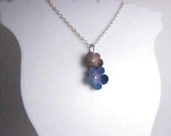 Sterling silver and titanium 2 flower pendant on chain