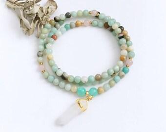 Mala, Prayer Beads, Amazonite Mala, Mala Necklace, Mala Beads, Amazonite Beaded Necklace, Yoga Necklace, 108 Mala Beads, Yoga Jewelry, MAQC