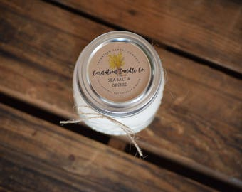 sea salt and orchid - 16 ounce all natural soy candle - mason jar candle