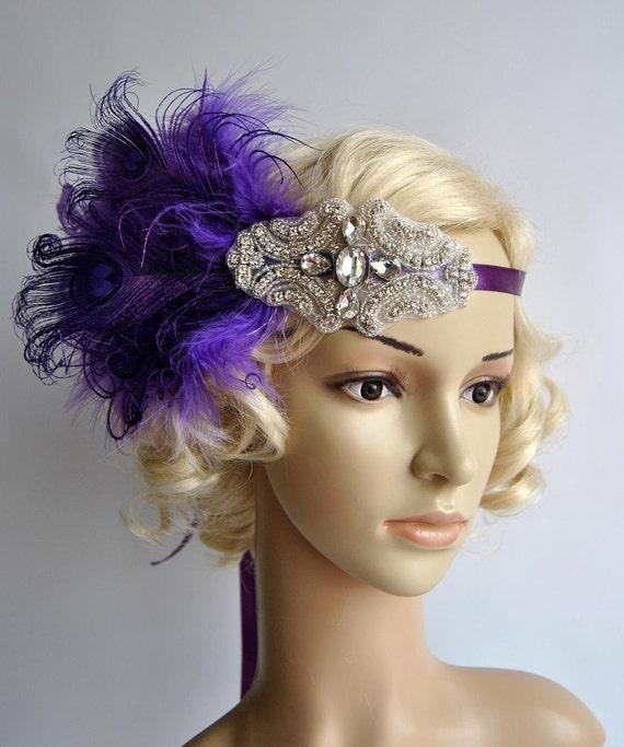 Peacock Headpiece For Wedding: Purple Beaded Flapper Gatsby Headband Peacock Wedding Beaded