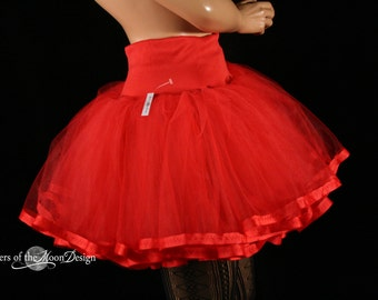 Red tutu petticoat skirt adult trimmed Halloween costume extra poofy dance petticoat bridal - You Choose Size - Sisters of the Moon