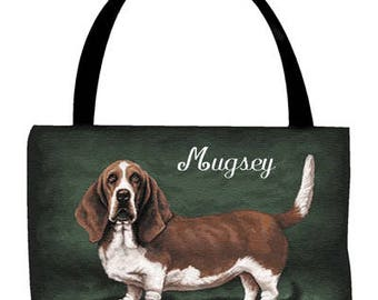 Basset Hound Personalized Tote Bag with Your Pet's Name