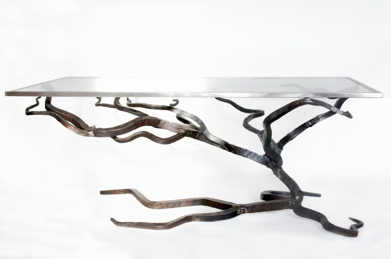🔎zoom. glass and metal coffee table forged sofa table blacksmiths