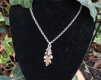 Silver Oak Leaf & Acorn Necklace