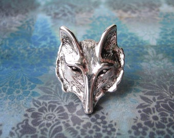 Rufus - The Handsome Antiqued Silver Plated Fox Brooch, Lapel Pin or Tie Pin, Tie Tack with Gift Box