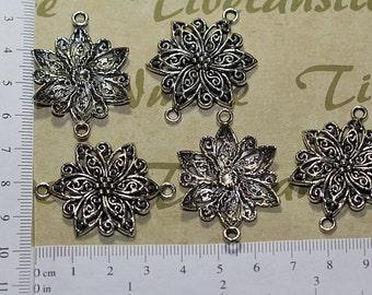 6 pcs - 40x30mm Large Filigree Flower Link Pendant Antique Silver Finish Lead free Pewter