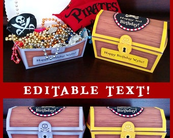 Pirates Party Birthday Printables Treasure Chest Favor Box - EDITABLE Text - Personalize at Home - INSTANT DOWNLOAD