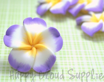 Large Lilac Purple, White and Yellow Polymer Clay Plumeria Frangipani Flowers... 4pcs