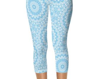 Capris Leggings, Baby Blue Leggings, Blue and White Printed Yoga Pants