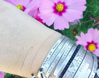 say what you need to say - personalized your sterling silver cuff with your words date quote message wedding name bride groom by SIMAG