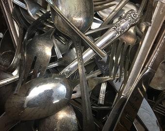 Box of silver plate silverware scrap