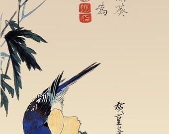 Japanese Bluebird on  Flowers Refrigerator Magnet