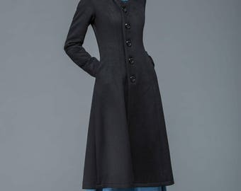 Black coat, wool coat, coat, long coat, winter coat, midi coat, womens coat, ladies coats, classic coat, custom C1167