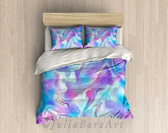 Modern Bedding Set, Blue Turquoise Purple Pink Duvet Cover, Comforter Set King Queen Twin, Pillowcase Set, Bohemian Bedroom Decor, Bedding