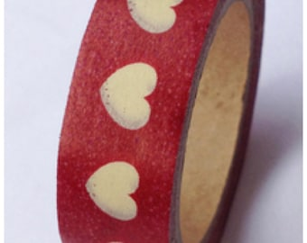 Red Washi tape - Cream heart - 15mm Wide - 11 yards  WT412