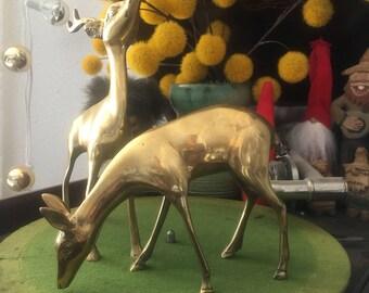 2 vintage brass deer