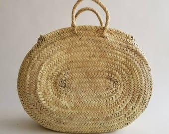 Oval Straw Basket Handmade -  Handmade Oval Straw basket, Summer Tote, oval French Market basket bag, oval beach basket, Straw Beach bag
