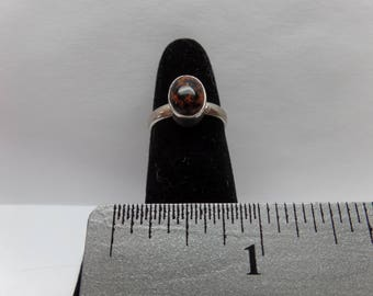 Vintage Sterling Silver Ring w/ Mahogany Obsidian Stone / FCM