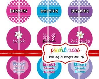 Instant Download, Best Friends, Bottle Cap Image, 1 Inch Digital Collage, Buy 2 Get 1 Free, Coupon Code, Digital Download, Besties