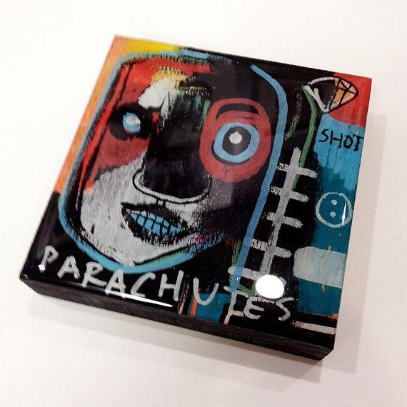 Parachutes- Original Mini-Painting on Wood with Resin Finish
