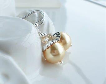 Gold Pearl Earrings, Swarovski Pearl Earrings Silver Gold, Golden Shadow Crystal Earrings, Short Pearl Earrings, Pearl Wedding Jewelry