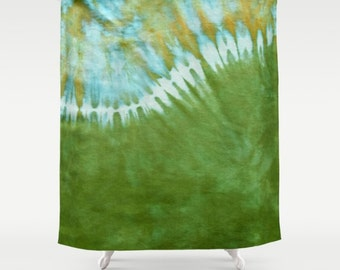 Fabric Shower Curtain-Tie Dye Hippie-Green-Decorative Shower Curtain-71x74 inches,