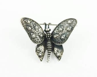 1990's Vintage Sterling Silver Butterfly Brooch Silver Butterfly Dark Butterfly Jewelry Butterfly Brooch Animal Pin Gift For Her