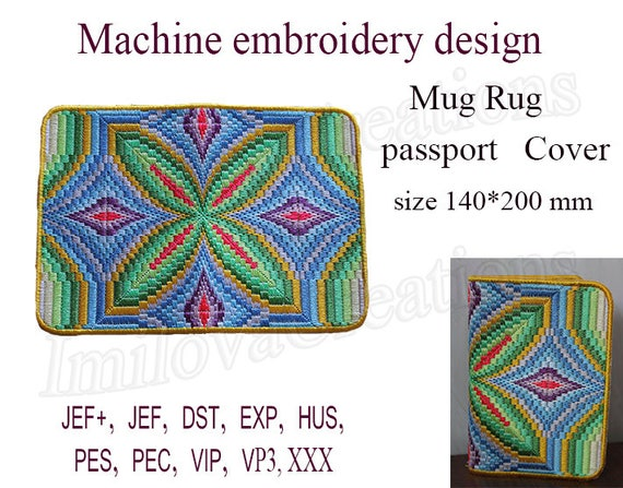 Machine Embroidery Designs Passport Cover In The Hoop Bargello