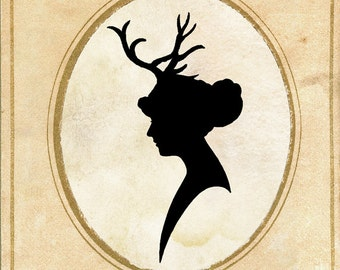 Papercut Art - Elegant Silhouette - Deer Antlers - Woodland Whimsical Art Print - Elegant Nursury Art Vintage Fairy Tale