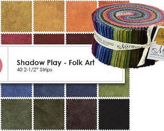 "Fabric Jelly Roll Sushi Roll - Precut Strips - Jewel Tone Solids Shadow Play Folk Art - 40 strips 2.5"" wide - 100% Cotton"