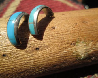Zuni Style Turquoise Petit Point Post Earrings