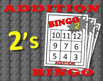 Math Facts Bingo: Addition 2's
