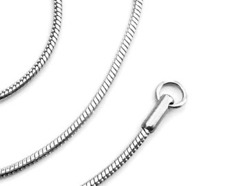 18 Inch Stainless Steel Necklace Chain, Silver Snake Chain, Non Tarnish Jewelry for Sensitive Skin, Unisex