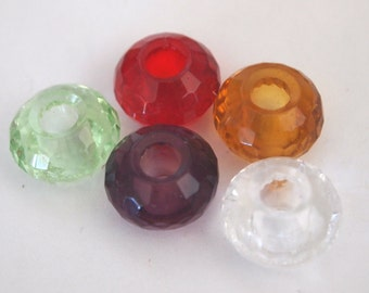 Mixed faceted clear glass crystal large hole beads